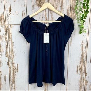 J.Crew Navy Blue Cotton Ruffle Tee Half Button